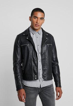HALE BIKER - Leather jacket - black