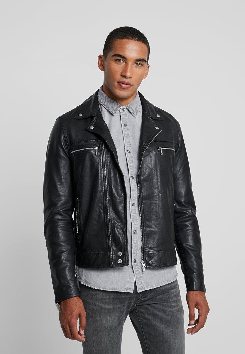 AllSaints - HALE BIKER - Veste en cuir - black