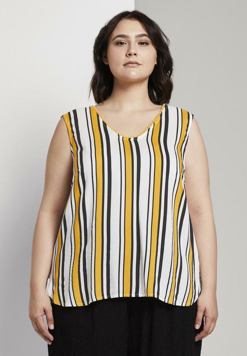 MY TRUE ME TOM TAILOR - MIT HÄKEL - Blouse - black yellow stripe