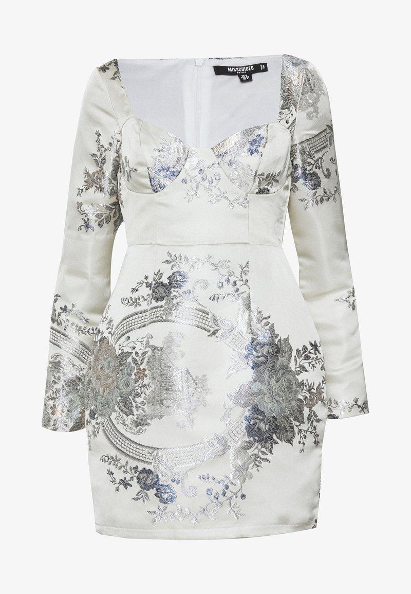 Missguided Petite - FLORAL MINI DRESS - Sukienka etui - grey