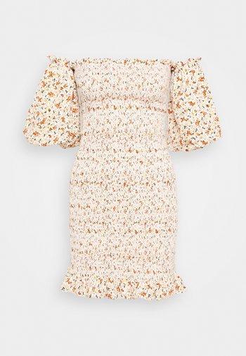 SHIRRED BARDOT MINI DRESS
