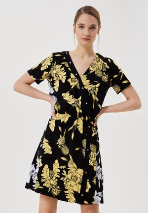 Košilové šaty - black/yellow