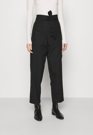 WIDE LEGGED TROUSER - Tygbyxor - black dark