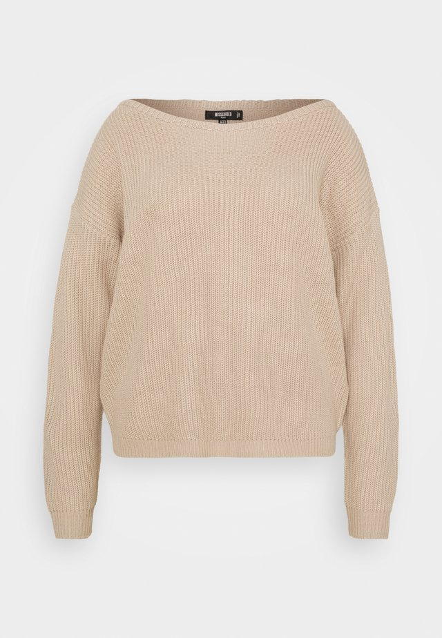 OPHELITA OFF SHOULDER - Sweter - taupe
