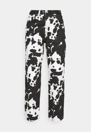 COW PRINT RUNWAY - Relaxed fit jeans - black/white