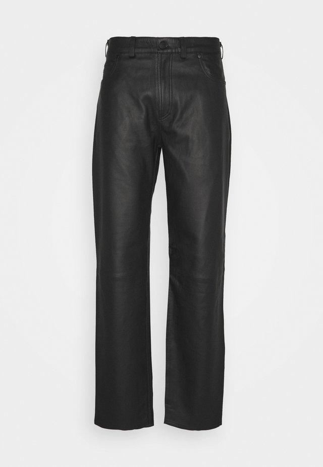 TROUSERS REGULAR FIT - Kožené kalhoty - black