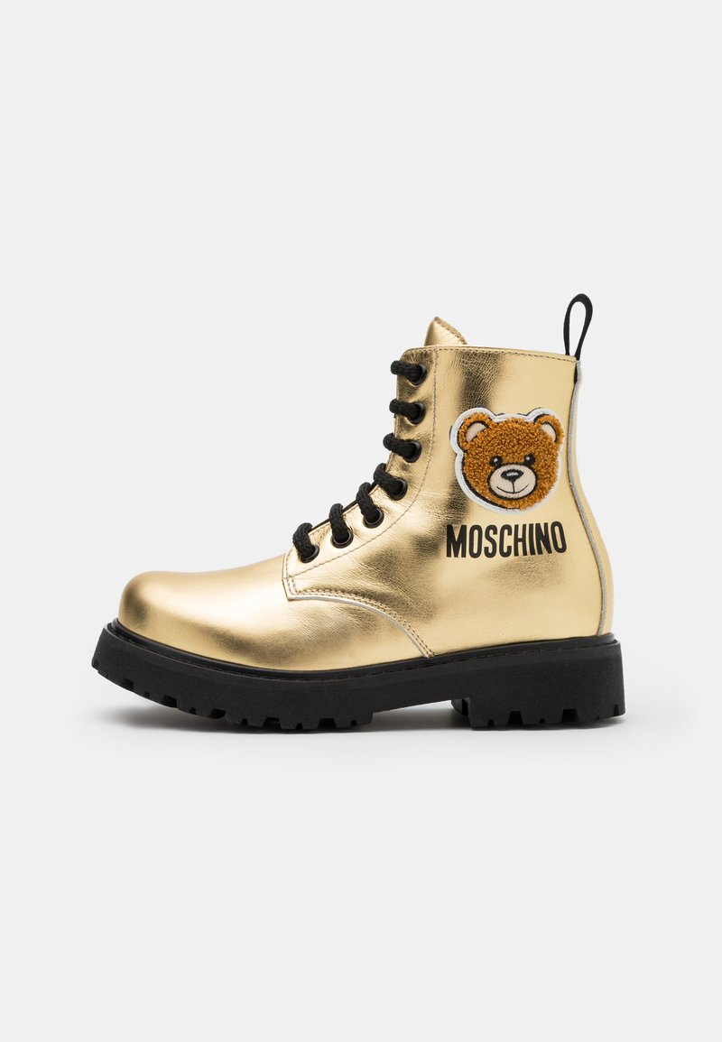 MOSCHINO - Lace-up ankle boots - gold