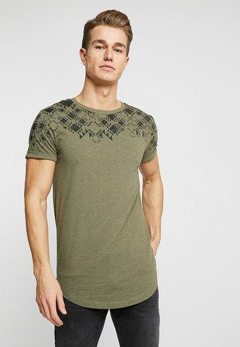 Print T-shirt - dusty olive green