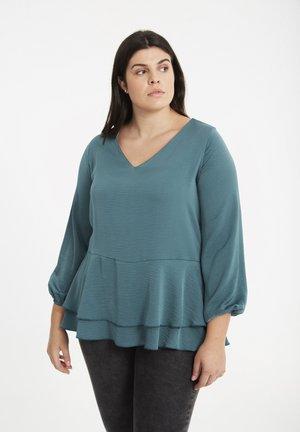 MIT RÜSCHE - Blouse - dark turquoise