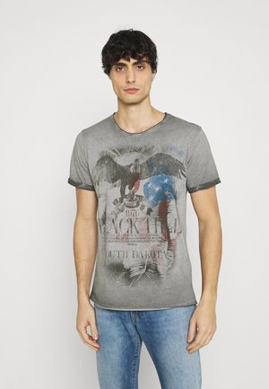 HILL ROUND - Print T-shirt - anthracite