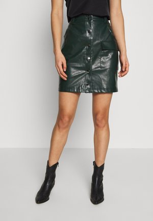 BUTTON FRONT SKIRT - Jupe trapèze - dark green