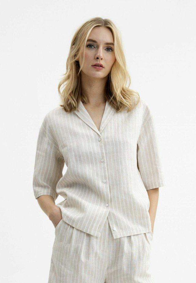 Button-down blouse - natur gestreift