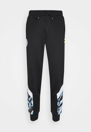 MANCHESTER CITY ICONIC GRAPHIC TRACK PANTS - Tracksuit bottoms - black/spectra yellow