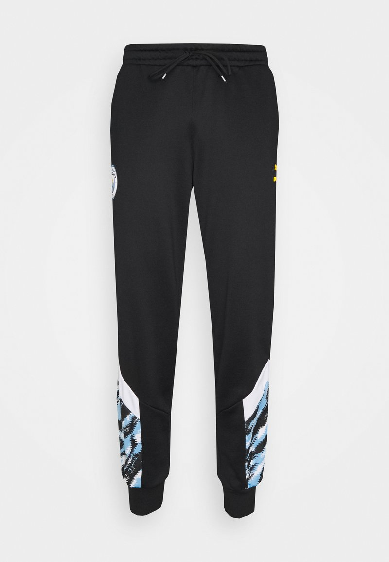 Puma - MANCHESTER CITY ICONIC GRAPHIC TRACK PANTS - Tracksuit bottoms - black/spectra yellow