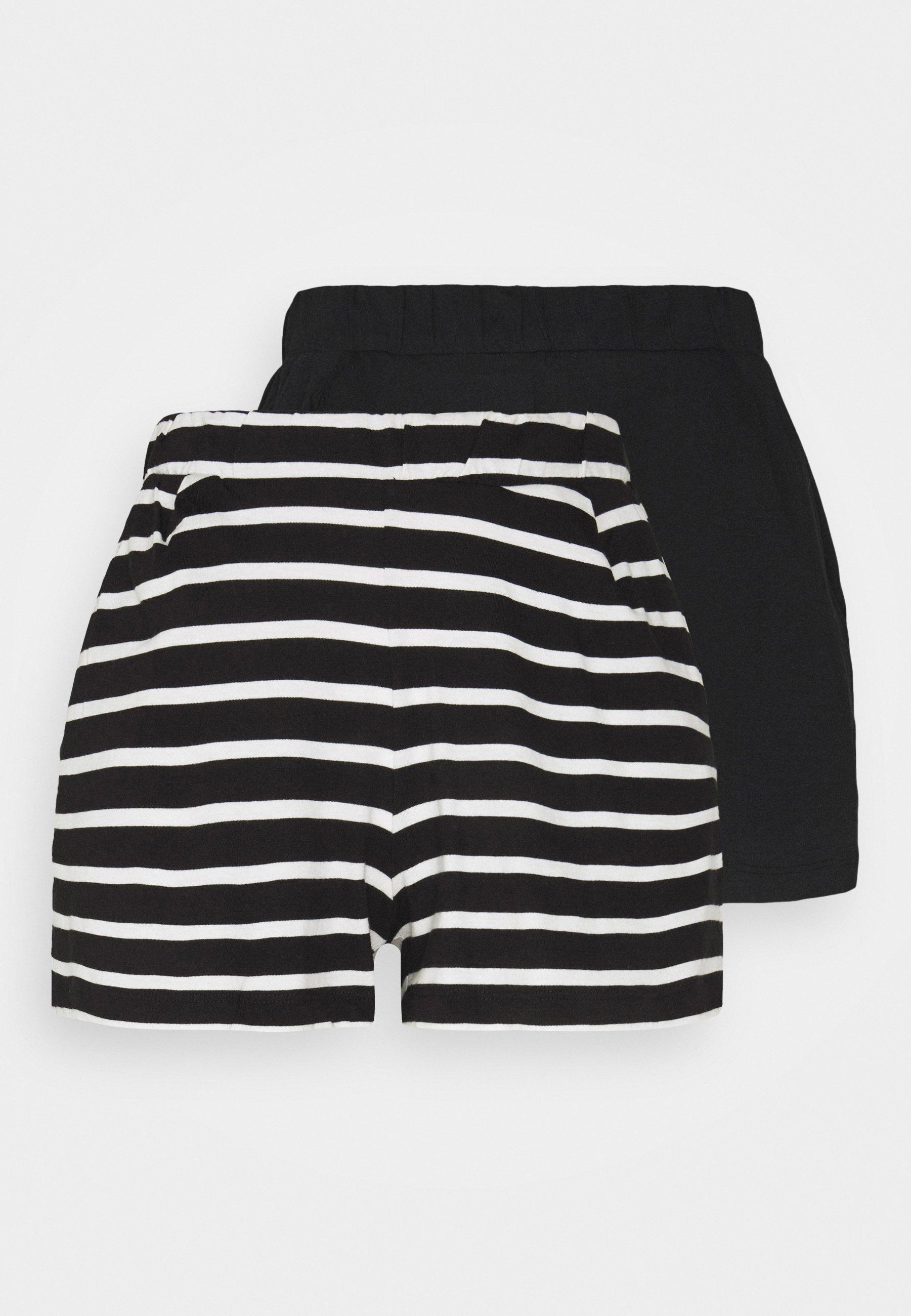 Women ONLMAY LIFE STRIPE 2 PACK  - Shorts - black/black