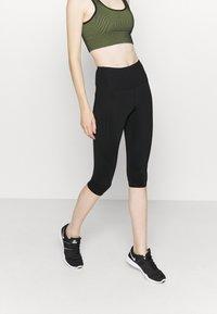 Cotton On Body - STRIPE CAPRI - Leggings - black - 0