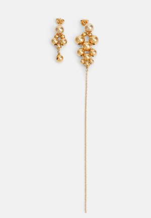 POST ASYMMETRIC CLUSTER BALL WITH CHAIN - Náušnice - gold-coloured