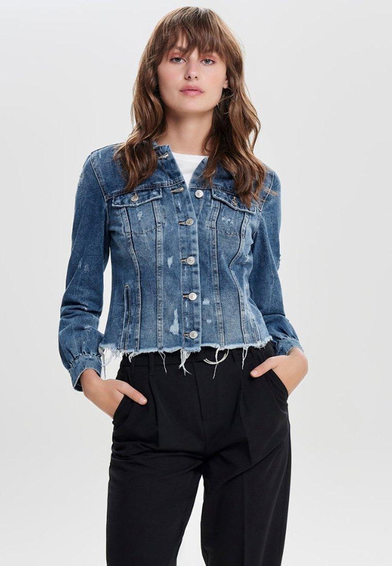 ONLY - DESTROYED - Denim jacket - medium blue denim