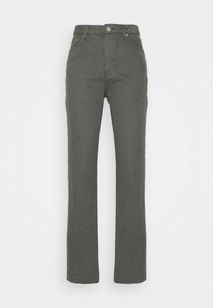 HIGH WAIST RAW HEM - Relaxed fit jeans - dark grey