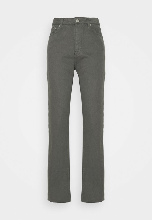 HIGH WAIST RAW HEM - Jeans relaxed fit - dark grey