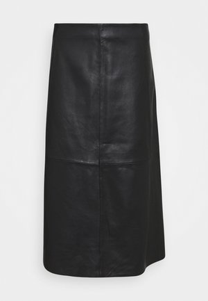 MARVIN - Leather skirt - black