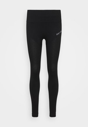 SEAMLESS HIGH WAIST DETAIL LEGGINGS - Tights - black