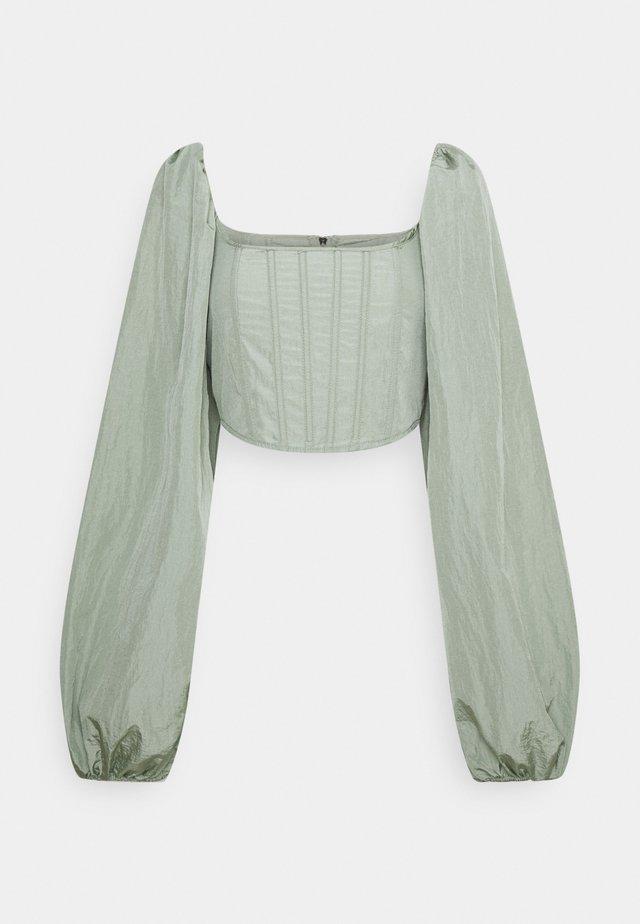 BALLOON SLEEVE CORSET - Long sleeved top - sage