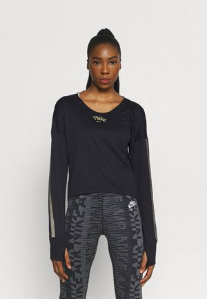 MIDLAYER FEMME - Long sleeved top - black/metallic gold