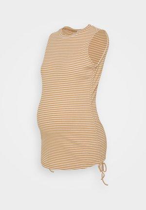 TANK TOP WITH ROUND NECKLINE - T-shirts med print - beige/white