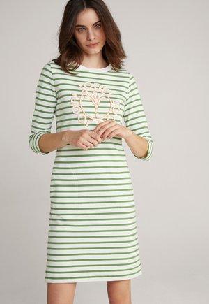 Jersey dress - grün weiß gestreift