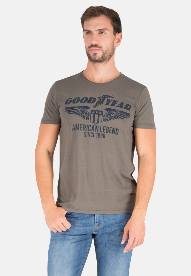 Print T-shirt - dusty olive
