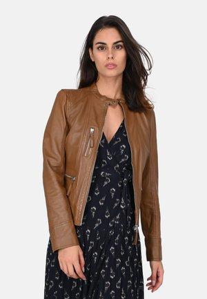 EACH - Leather jacket - cognac color