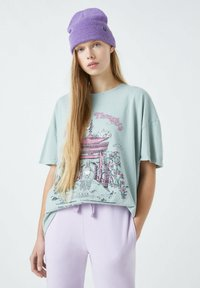 PULL&BEAR - Print T-shirt - light green - 0
