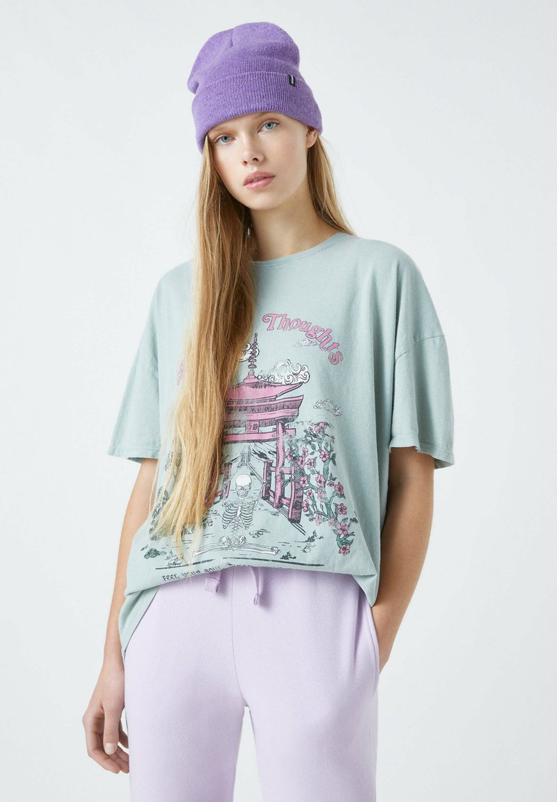 PULL&BEAR - Print T-shirt - light green