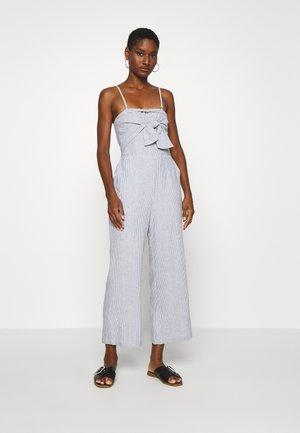 BOW FRONT - Jumpsuit - blue/white