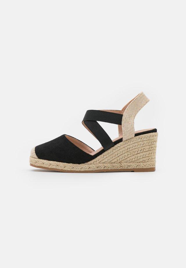 Sandály na klínu - nero