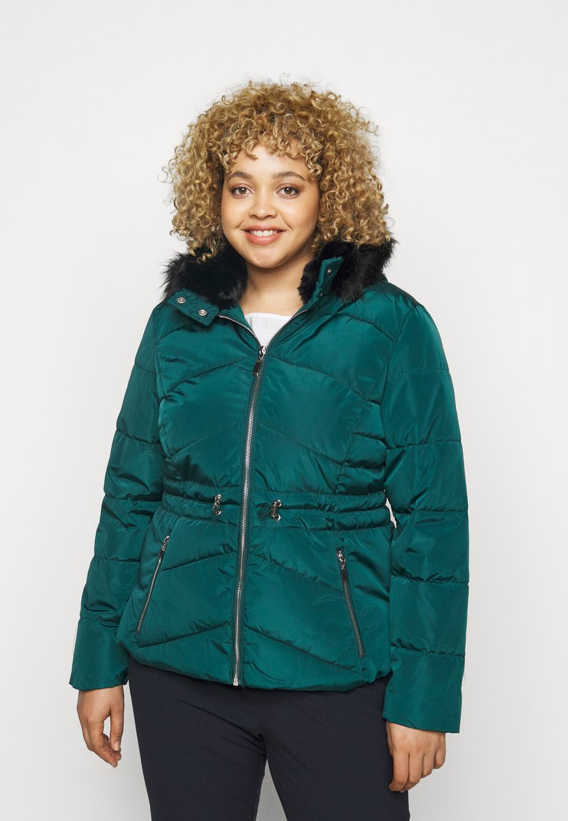 CAPSULE by Simply Be - LUXE HOODED SHORT PADDED COAT - Talvitakki - forest green