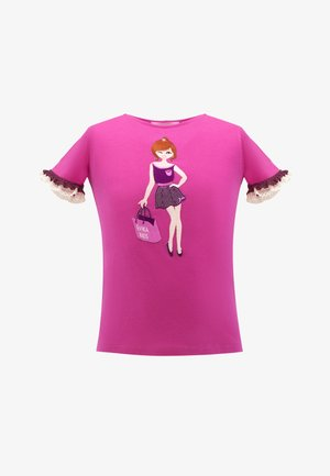WITH LACE - Print T-shirt - pink