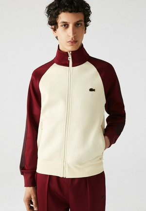 Zip-up sweatshirt - beige / bordeaux / marron