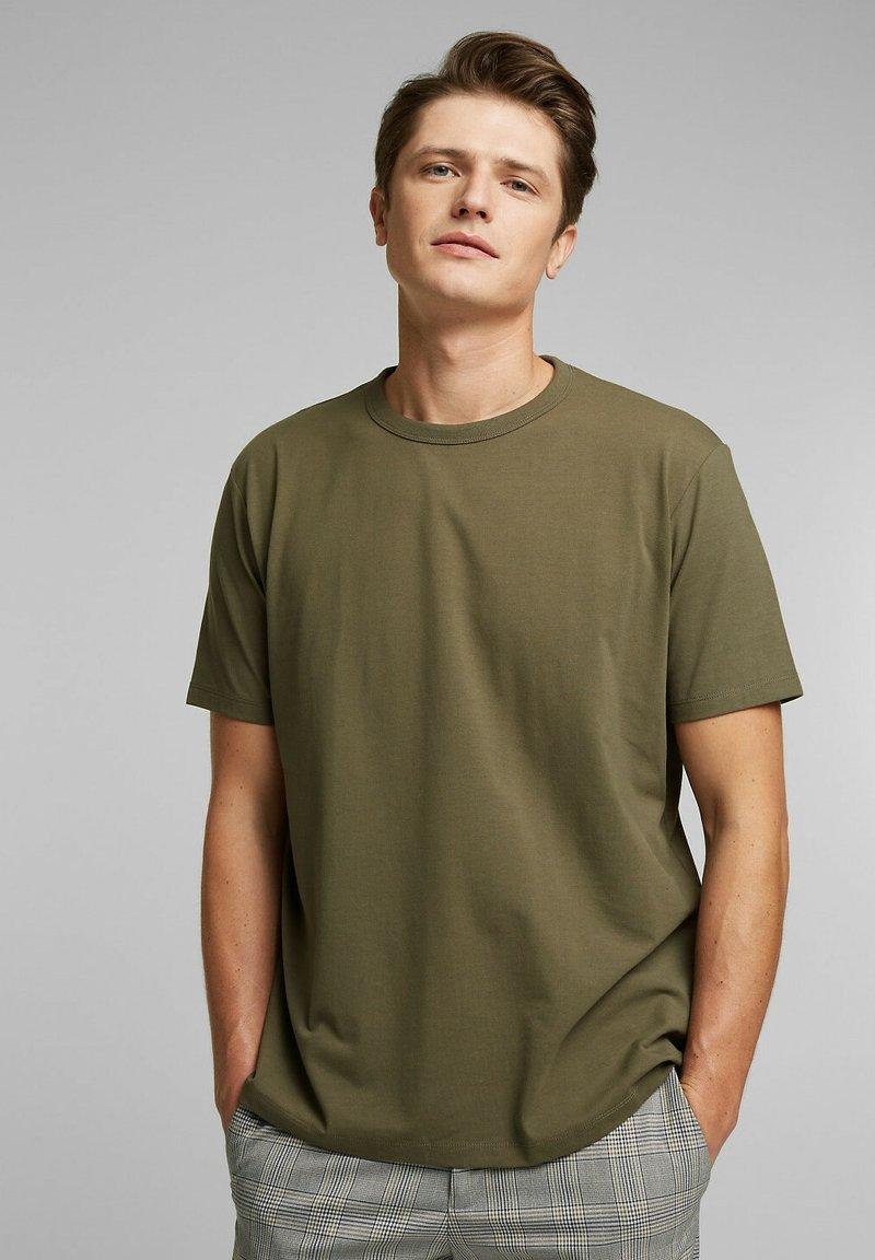 Esprit Collection - MIT COOLMAX - Basic T-shirt - dark khaki