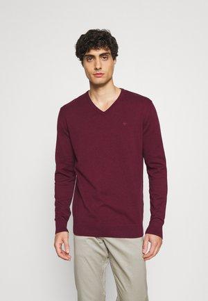 BASIC VNECK - Pullover - wine red