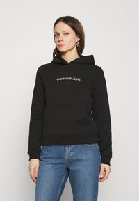 Calvin Klein Jeans - SHRUNKEN INSTITUTIONAL - Hoodie - black - 0