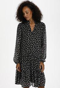 Kaffe - KACAIPO DRESS - Day dress - black / chalk lurex flower - 0