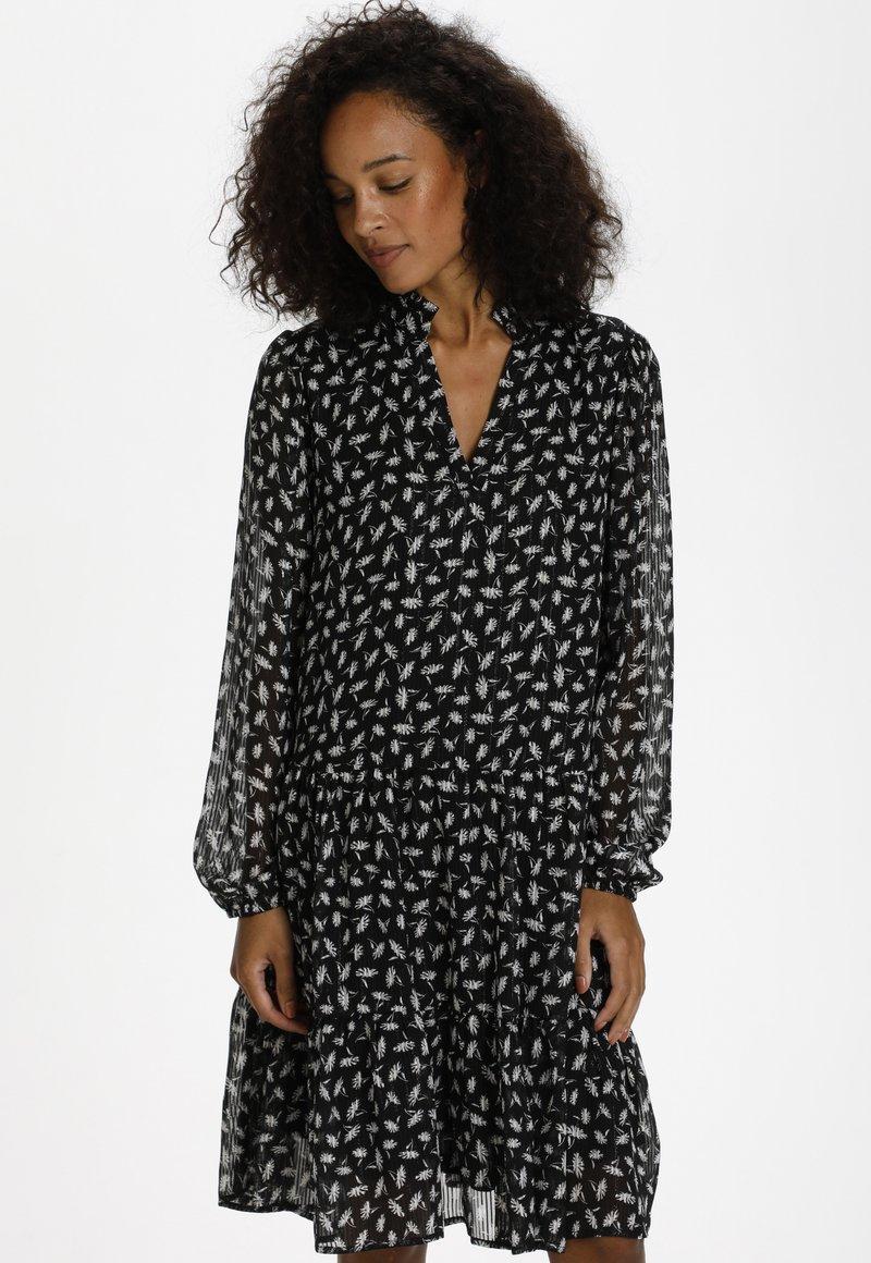 Kaffe - KACAIPO DRESS - Day dress - black / chalk lurex flower