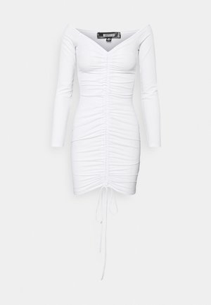 RUCHED FRONT MINI - Jersey dress - white