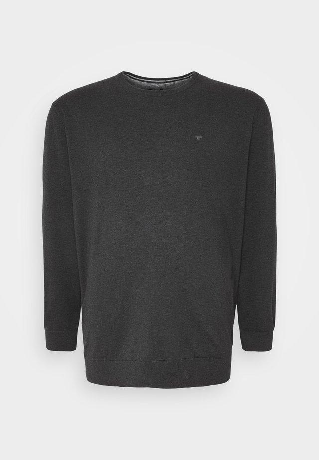 Strikkegenser - black grey melange