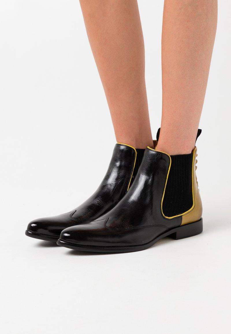 Melvin & Hamilton - KEIRA - Cowboy/biker ankle boot - black/fluo yellow
