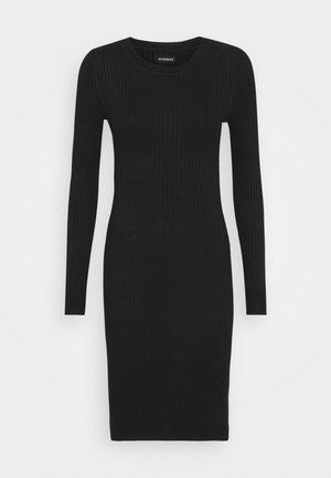 Knitted jumper mini high neck dress - Tubino - black