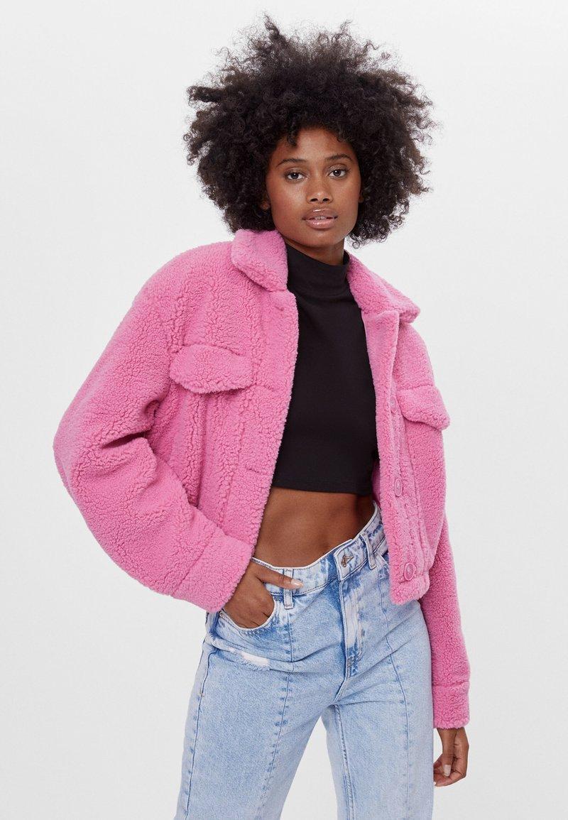 Bershka - Fleece jacket - pink