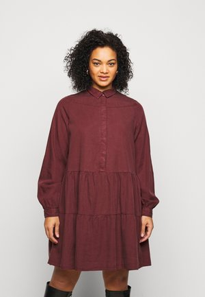 PCRIVER MIX DRESS - Shirt dress - decadent chocolate